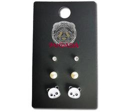 Pandasia Panda stud earrings silver colored