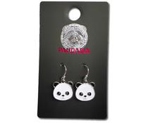 Pandasia Panda hangoorbellen zilverkleurig