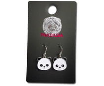 Pandasia Panda pendant earrings silver colored
