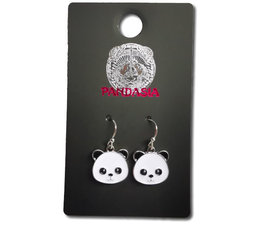 Pandasia Panda pendant earrings silver colored