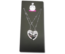 Pandasia Panda necklace silver colored 'Best friends'