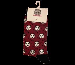 Pandasia Panda sokken rood met panda's