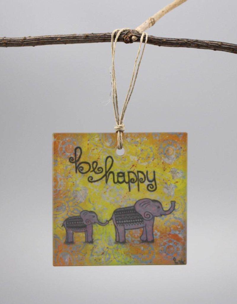 "Glass hanger ""be happy"""