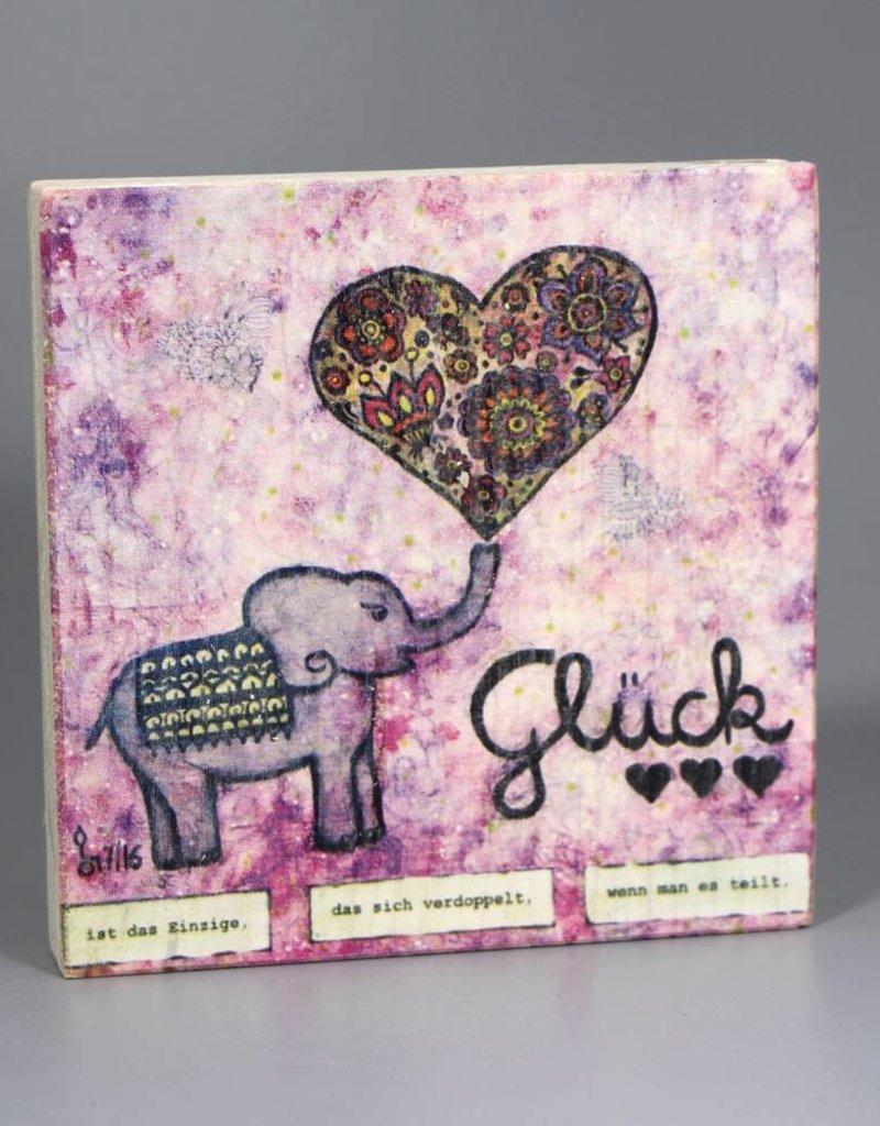 """Printing on wood S """"Glück"""""""