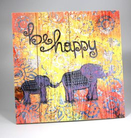 """Printings on wood M """"be happy"""""""