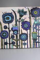"""Printings on wood M """"Flowers Blue"""""""