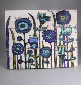 "Printings on wood M ""Flowers Blue"""