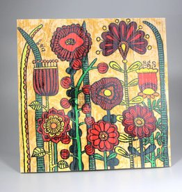 "Printings on wood M ""Flowers IV"""