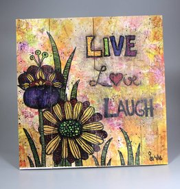 "Printing on wood  M ""Live, Love, Laugh"""