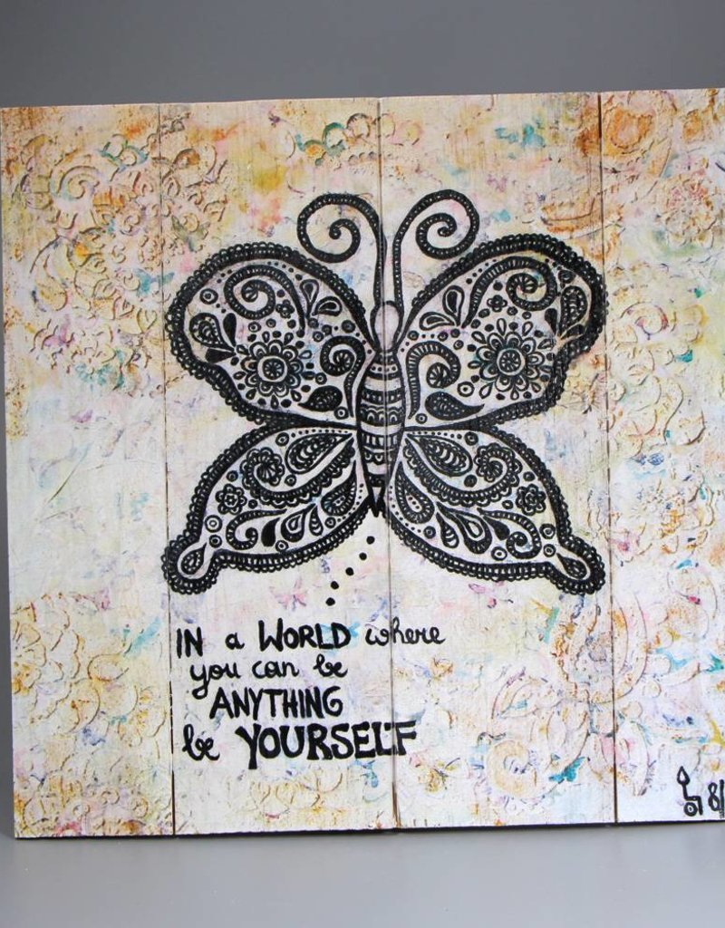 """Printing on wood  M """"Be yourself"""""""