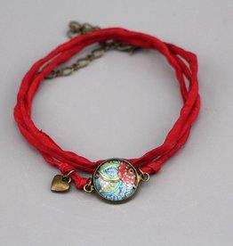 "Silk bracelet ""Rote Blume"""