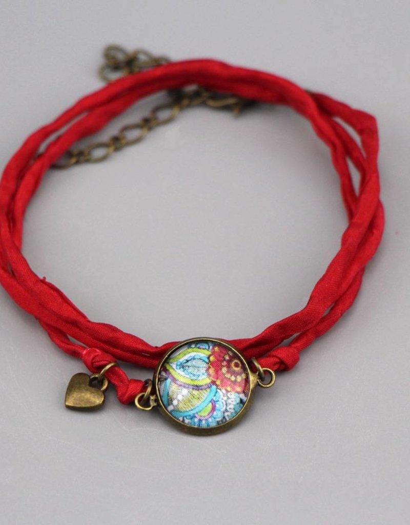 Armband aus Seide - Rote Blume