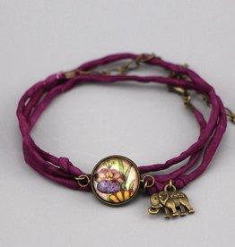 "Silk  bracelet ""Flower Live, Love, Laugh"""