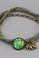 Armband aus Seide - Mehndi Muster grün
