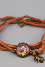 Armband aus Seide - Schnörkel in Ocker
