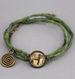 """Silk  bracelet """"Elefant in braun"""""""