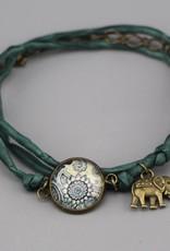 Armband aus Seide - Mehndi Muster dunkelgrün