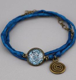 "Silk  bracelet ""Mehndi Muster dunkelblau"""