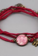 Armband aus Seide - Mehndi Muster magenta
