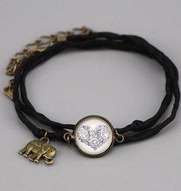 """Silk  bracelet """"Mehndi Herz in schwarz"""""""