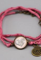 """Silk  bracelet """"Mehndi Herz in rosa"""""""