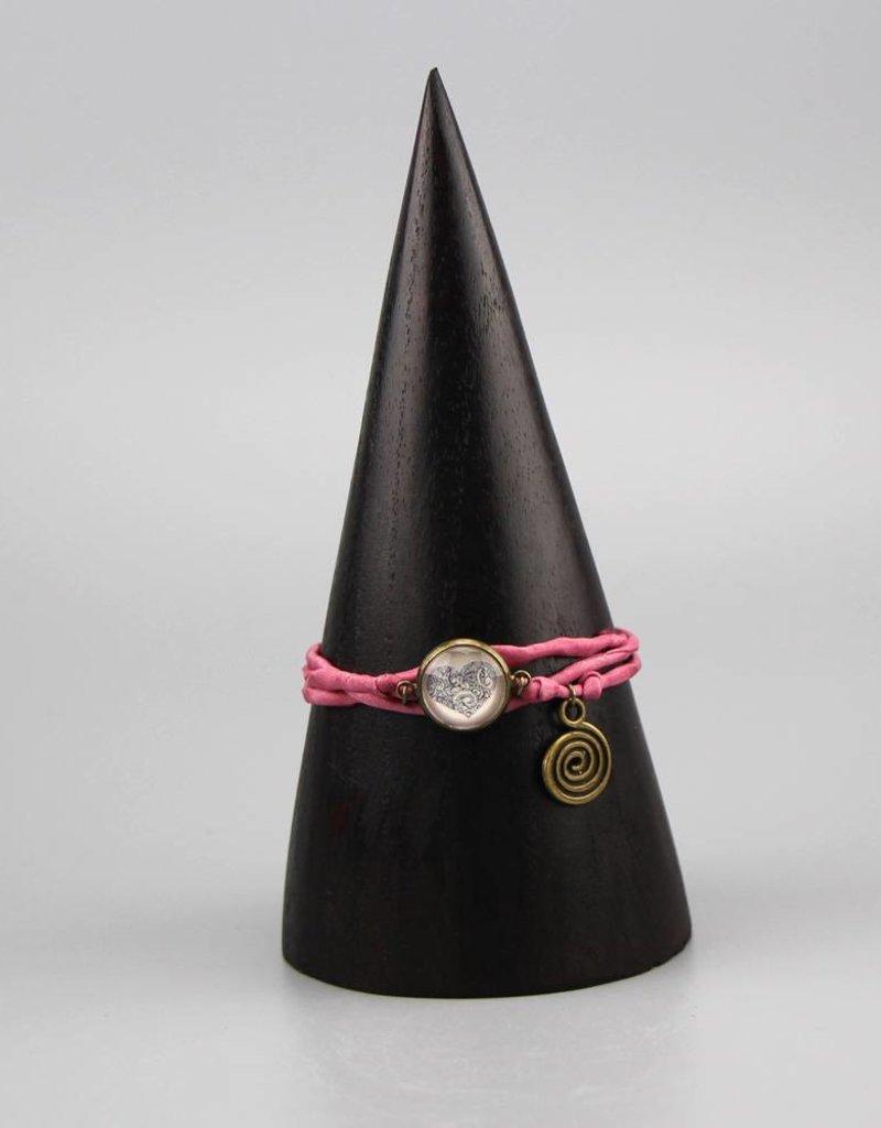 Armband aus Seide - Mehndi Herz in rosa