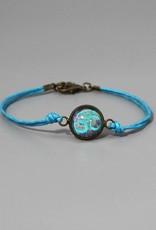 """Cotton bracelet """"Om hellblau"""""""