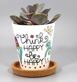 "Flower pot ""Think happy"""