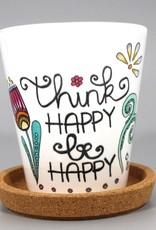 "Flower pot ""Think happy"""