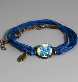 Seidenarmband Schmetterling blau
