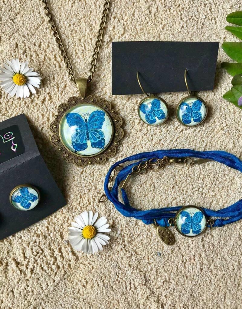 Armband aus Seide - Schmetterling blau