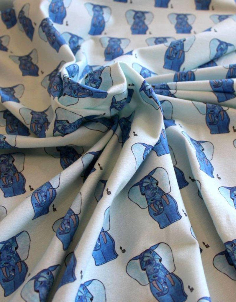 Baumwollstoff Elefant blau