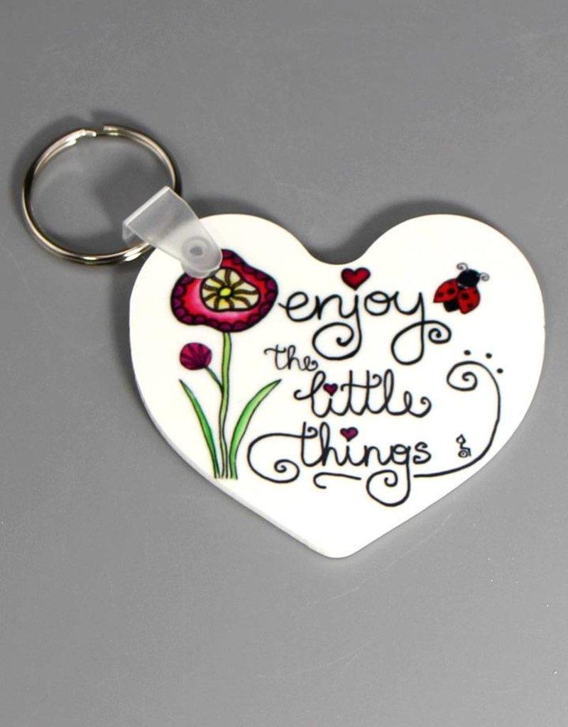 "Key chain heart ""Enjoy the little things"""