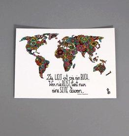 """Postkarte """"Die Welt ist ein Buch"""""""