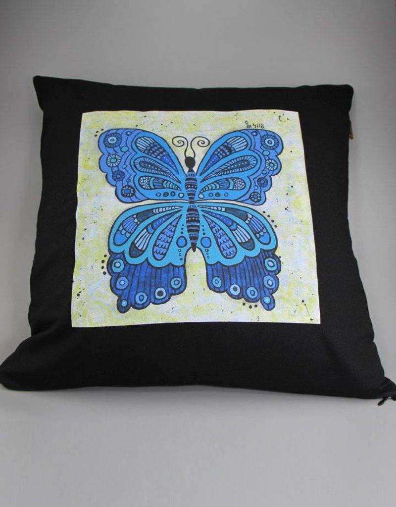 "Kissenbezug ""Schmetterling blau"""
