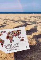 """Post card  """"Die Welt ist ein Buch"""""""
