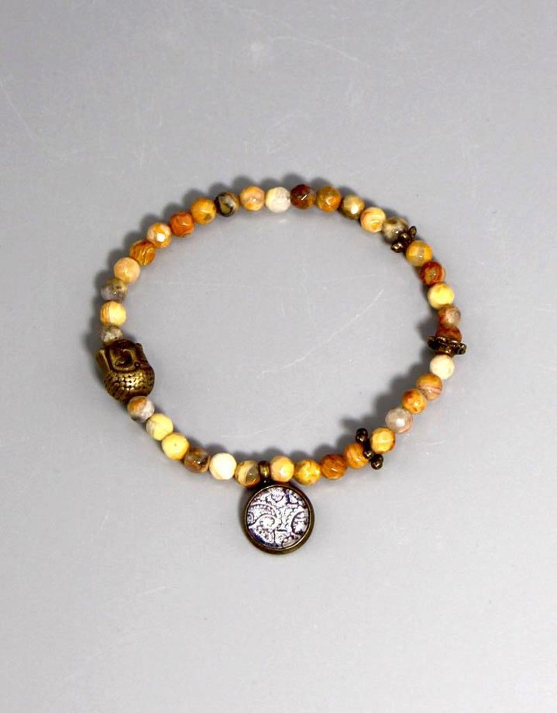 Buddha Armband Achat gelb