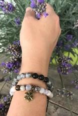 Buddha Armband Achat grau