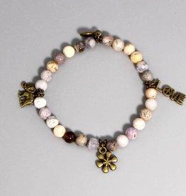 Buddha Armband Achat Charms grau