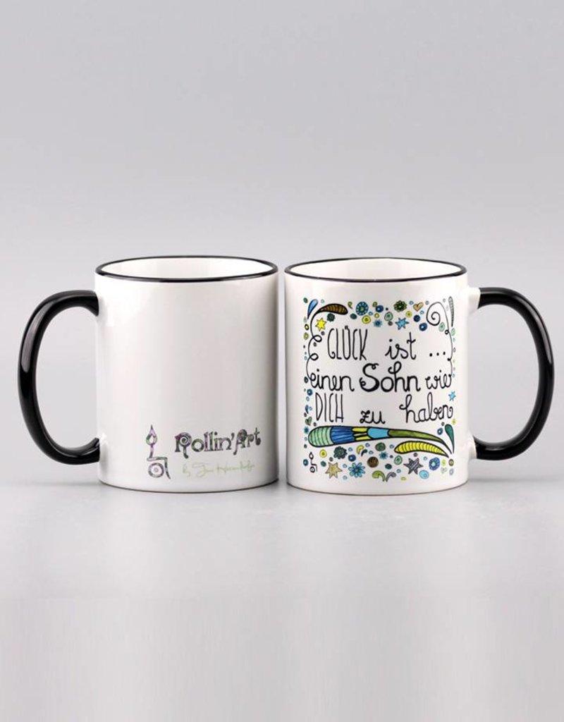 "Ceramic mug ""Glück ist... Sohn"""