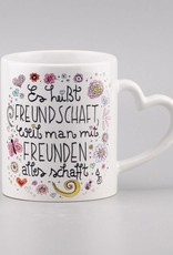 "Ceramic mug ""Freundschaft"" - heart handle"