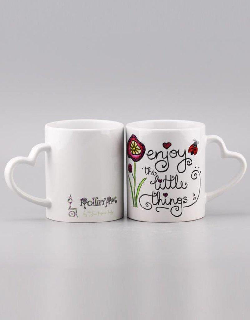 "Ceramic mug ""Enjoy the little things"" - heart handle"