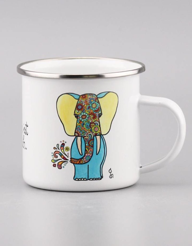"Enamel mug ""Das Leben ist elefantastisch"""