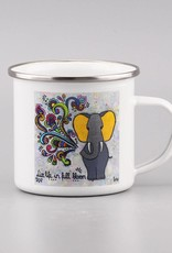 "Emaille Tasse ""Live life in full bloom"""
