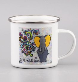 "Enamel mug ""Live life in full bloom"""