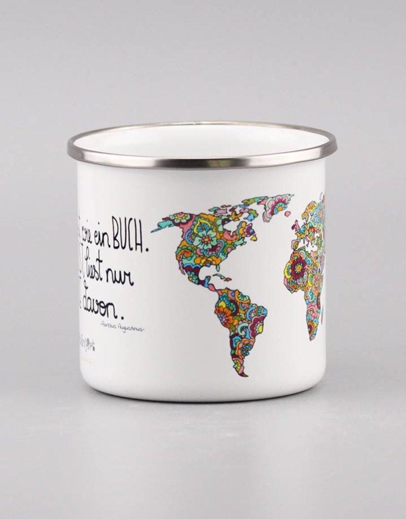 """Emaille Tasse """"Die Welt ist ein Buch"""""""