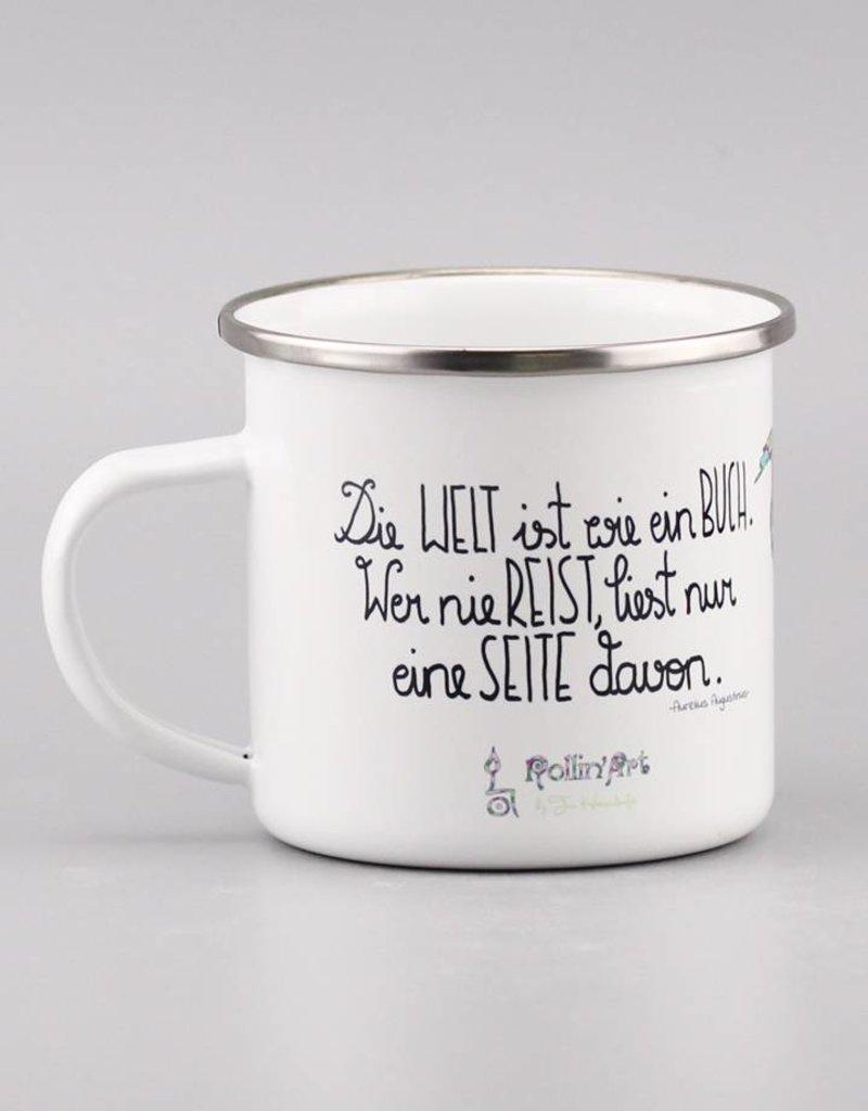 """Enamel mug  """"Die Welt ist ein Buch"""""""