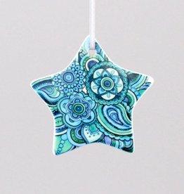 Keramikstern Mehndi blau