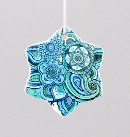 Keramikschneeflocke Mehndi blau