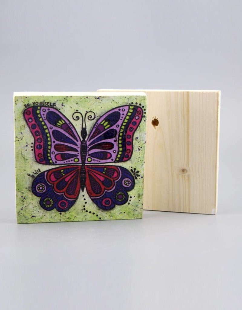 "Holzdruck S ""Schmetterling be yourself"""